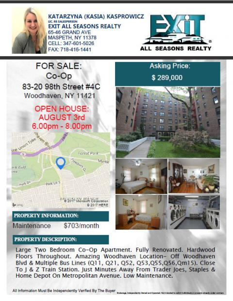 Large Two Bedroom Co-Op Apartment. Fully Renovated. Amazing location !!!