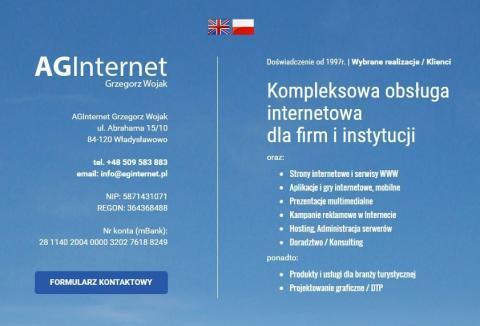 Kompleksowa obsługa internetowa dla firm i instytucji - AGInternet Grzegorz Wojak