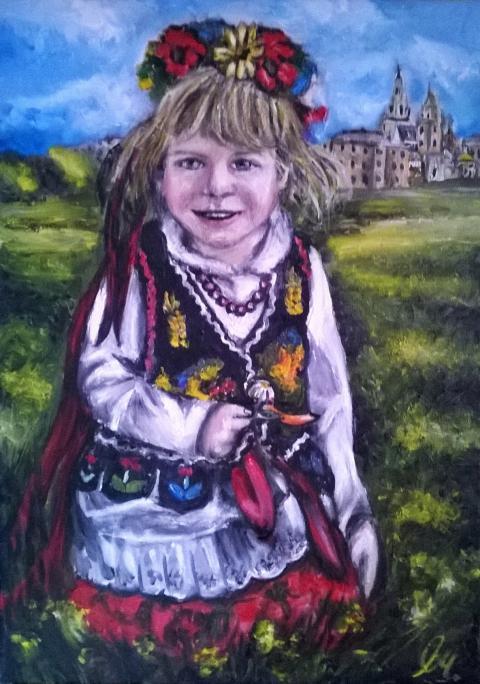 Sprzedam obraz olejny na płótnie - Dziewczynka w stroju Krakowskim