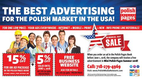 The Best Advertising For the Polish Market in the USA! Memorial Day Sale